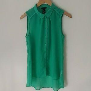 H&M Kelly Green Sleeveless Button Tank Blouse